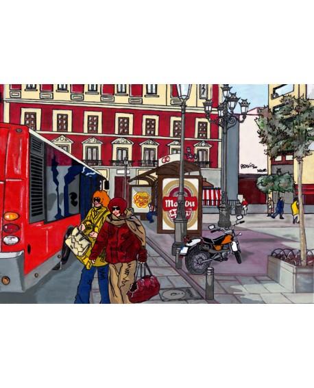 Tony Polonio La parada de autobus en calle de Madrid pintura giclee Home