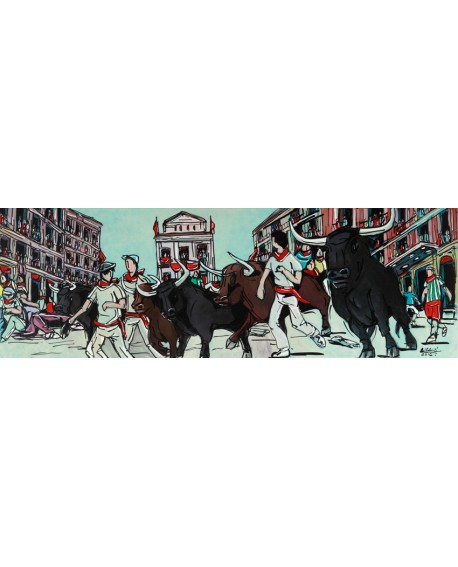 Alcala San Fermin Pamplona Pintura Naif Española pintura giclee Cuadros Horizontales