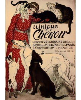 STEINLEN Cartel Deco Art Nouveau Clinica Veterinaria modernista Home