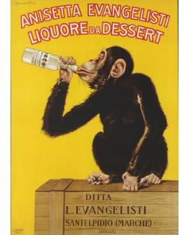 Cartel Art Deco Art Nouveau Modernista Bebidas Anis con Mono Home