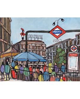 Alcala : Puerta del Sol en Madrid. Cuadro Comic. Tio Pepe y Metro