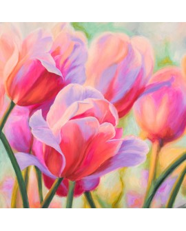 CYNTHIA ANN cuadro de flores tulipanes cuadrado 1 en pintura giclee Home