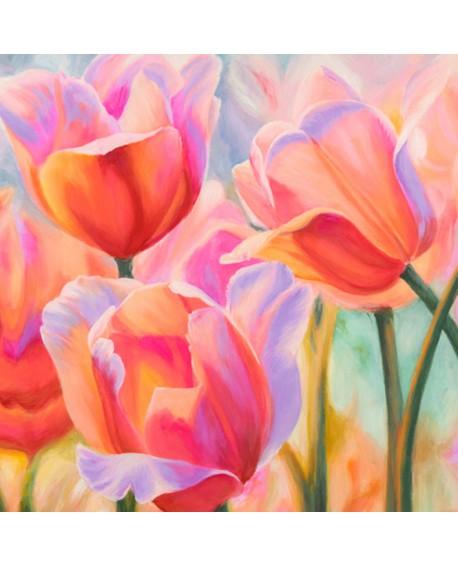 CYNTHIA ANN cuadro de flores tulipanes cuadrado 2 en pintura giclee Home