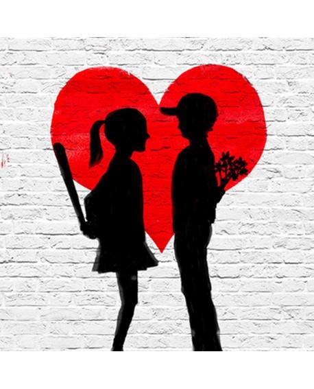BANKSY Leccion de amor en cuadro mural cuadrado pintura giclee Home