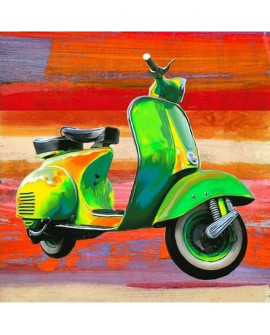 TEO RIZZARDI POP SCOOTER veSpa en arte pop mural abstracto cuadrado