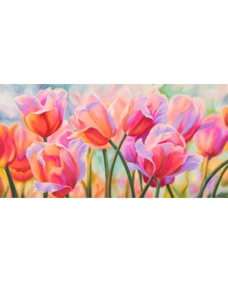 CYNTHIA ANN Cuadro de flores tulipanes en mural horizontal Cuadros Horizontales
