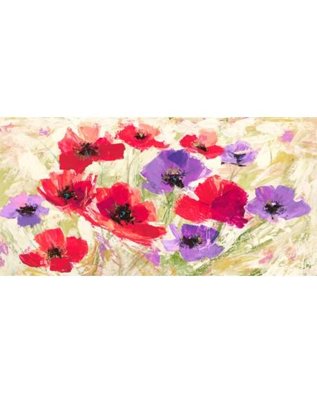 LUIGI FLORIO Flores del campo en PRIMAVERA rojo y violeta pintura giclee Cuadros Horizontales