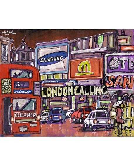 Alcala : Autobus en Londres. Cuadro Comic. Piccadilly. London Calling. Home