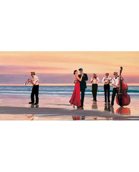 Musicos y Baile en la playa PIERRE BENSON Pintura Giclee Reproduccion Cuadros Horizontales