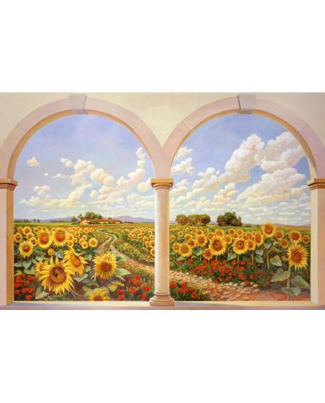 ANDREA DEL MISSIER Trampantojo de ventana con girasoles Cuadros Horizontales