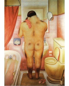 Fernando Botero cuadro naif desnudo hombre gordo en el baño Reproduccion Home
