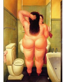 Fernando Botero cuadro naif desnudo mujer gorda en el baño Reproduccion Home
