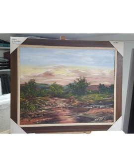 Villalobos paisaje goyesco en Oleo original enmarcado Pintado a mano