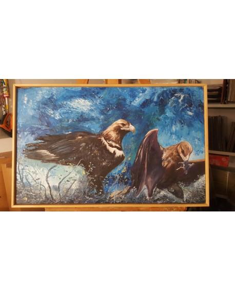 Villalobos 72x45 cm Aguilas imperiales en Oleo original Pintado a mano Home