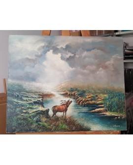 L. Alvaro paisaje con reno en Oleo original lienzo Pintado a mano 61x50 cm