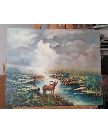 L. Alvaro paisaje con reno en Oleo original lienzo Pintado a mano 61x50 cm Home