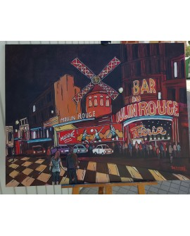 Jose Alcala Mouline Rouge Paris Oleo Original lienzo Pintado 115x89 Home