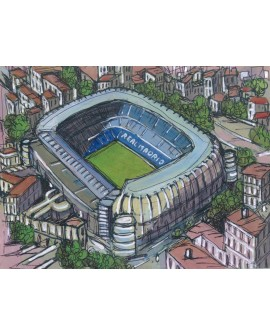 Alcala: Estadio Santiago Bernabeu. Real Madrid. Cuadro Aereo Comic. Home