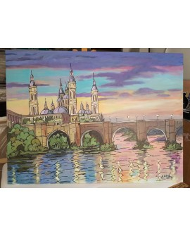 Jose Alcala el pilar de zaragoza y rio Original lienzo Pintado 129x97