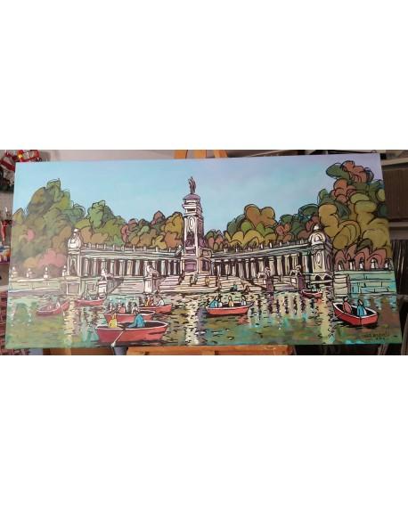 Jose Alcala Barcas del retiro de Madrid Original lienzo Pintado 130x65 Home