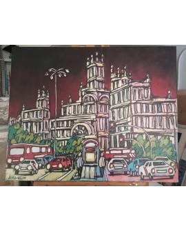 J.Alcala 80x65 palacio correos ayuntamiento Original lienzo Pintado Home