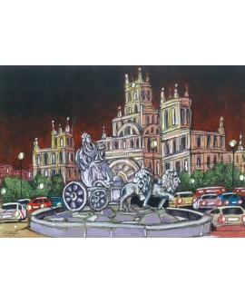 Alcala: Estatua de Cibeles de noche. Real Madrid. Cuadro Arte Comic. Home