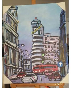 J.Alcala 80x65 Madrid gran via capital schweppes pintura original Home