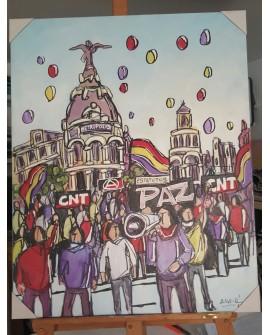J. Alcala 80x65 Manifestacion Madrid CNT paz y republica pintura original