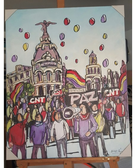 J. Alcala 80x65 Manifestacion Madrid CNT paz y republica pintura original Home