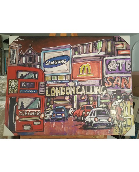 J. Alcala 80x65 London calling picadilly circus the clash pintura original Home