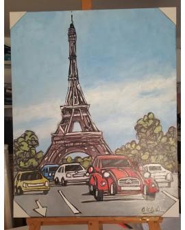 J.Alcala 80x65 Torre eifel paris y citroen 2 cv pintura naif original Home