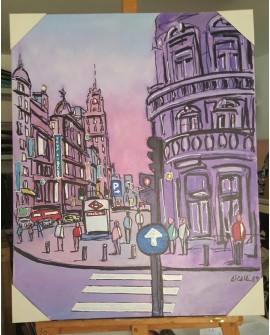 J.Alcala 80x65 Plaza de callao de Madrid pintura Naif original Home