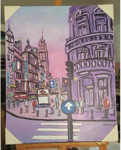 J. Alcala 80x65 Plaza de callao de Madrid pintura Naif original Home