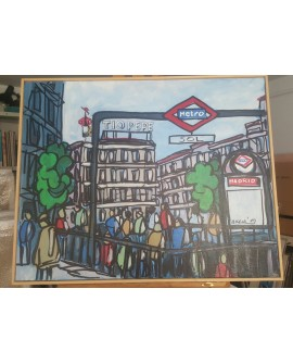 J.Alcala 80x65 Madrid metro de sol tio pepe km 0 en enero pintura original Home