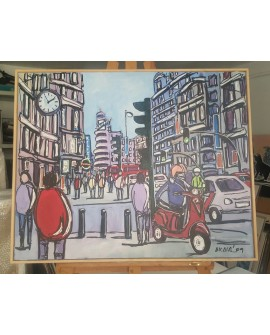 J.Alcala 80x65 En vespa por la gran via Madrid pintura Naif original Home