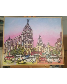 J. Alcala 80x65 Metropolis atasco en la gran via pintura original Home