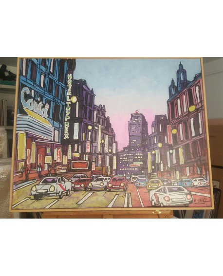 J. Alcala 80x65 Coches Madrid Atardecer en la gran via capitol pintura original Home