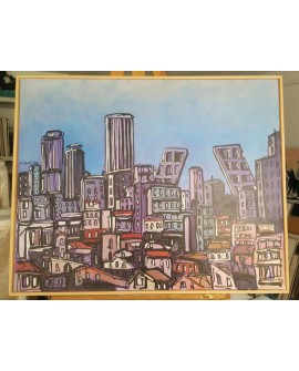 J.Alcala 80x65 Tetuan y las torres kio Madrid pintura Naif original Home