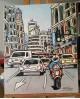 J. Alcala 60x50 velocidad en la gran via Madrid pintura Naif original Home