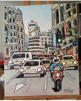 J. Alcala 60x50 velocidad en la gran via Madrid pintura Naif original