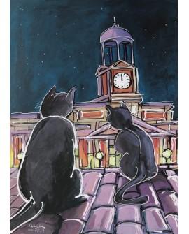 Alcala : Gatos en  Nochevieja. Madrid. Cuadro Comic. Puerta del Sol