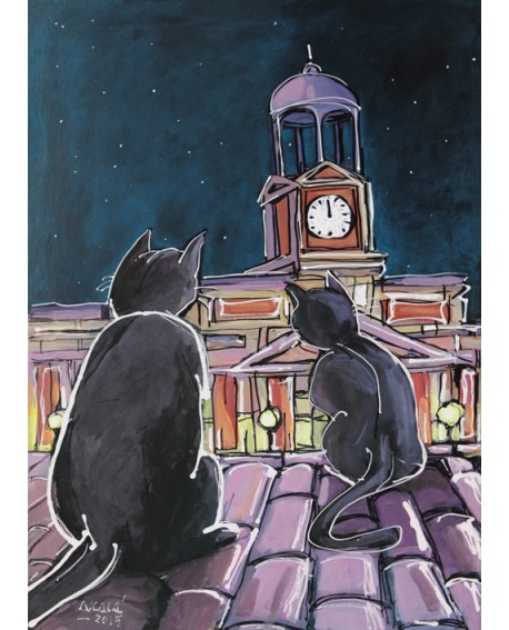 Alcala : Gatos en Nochevieja. Madrid. Cuadro Comic. Puerta del Sol Home