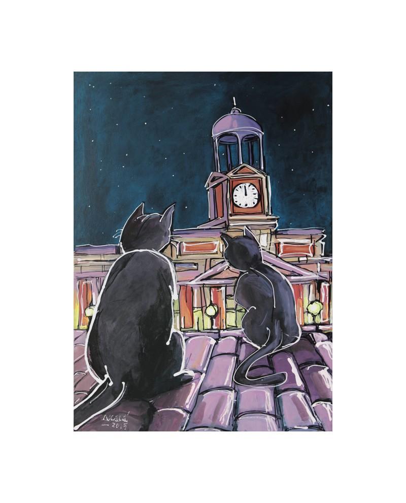 Alcala : Gatos en Nochevieja. Madrid. Cuadro Comic. Puerta del Sol ...
