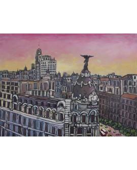 J. Alcala 118x90 atardecer en el edificio metropolis pintura original