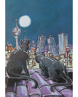 Alcala : Gatos Negros Pantera. Aerea de Madrid. Cuadro Comic. Torres Kio Home