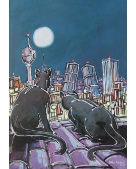Alcala : Gatos Negros Pantera. Aerea de Madrid. Cuadro Comic. Torres Kio