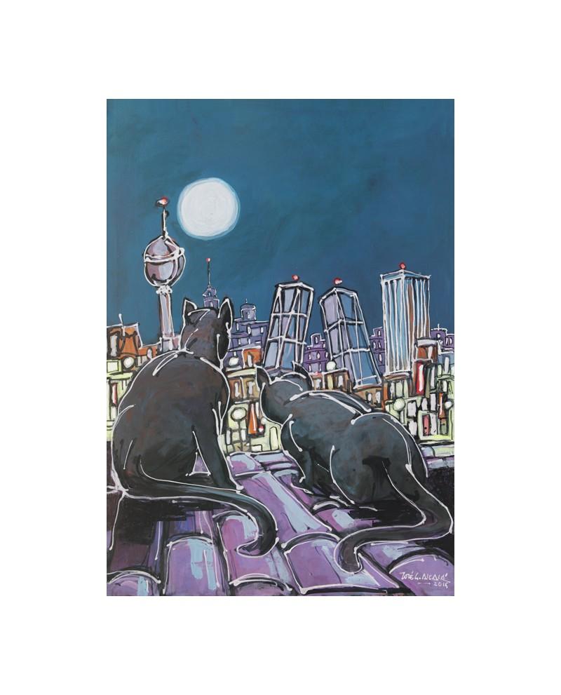 Alcala : Gatos Negros Pantera. Aerea de Madrid. Cuadro Comic. Torre...