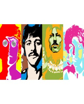 the beatles psicodelico john paul george ringo colores vivos pop art Home