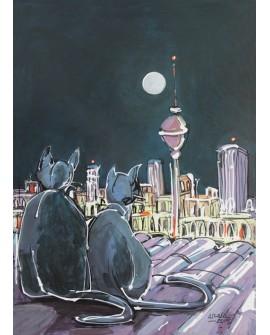 Alcala : Gatos Tiriste y Azul en tejados de Madrid. Cuadro Comic Moderno Home