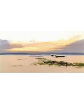 Paisaje de playa Mediterraneo marina atardecer minimalista Cuadros Horizontales